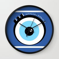 evil eye Wall Clocks featuring Evil Eye by Monica Barela-Di Bisceglie