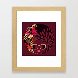 Afro Diva : Sophisticated Lady Deep Pink & Burgundy Framed Art Print