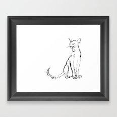 Skinny cat illustration Framed Art Print