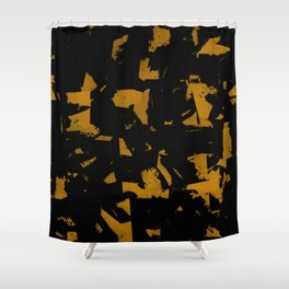 Looking For Gold - Abstract gold and black painting Shower Curtain