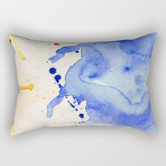 Blue & Orange Color Splash Rectangular Pillow