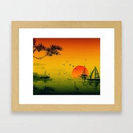 Japanese Sunset Framed Art Print