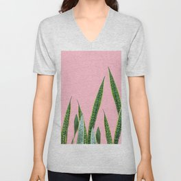 Snake plants with pink Unisex V-Neck