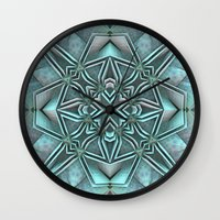 snowflake Wall Clocks featuring Snowflake by Lyle Hatch