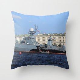 "The military battleship ""Kazanec"" 311. Neva River. Day of the Russian Navy. Throw Pillow"