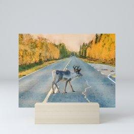 Lappi reindeer watercolor painting Mini Art Print