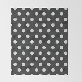 Dark Slate Grey Thalertupfen White Pōlka Large Round Dots Pattern Throw Blanket