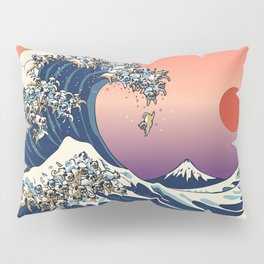 The Great Wave of Pugs / Square Pillow Sham