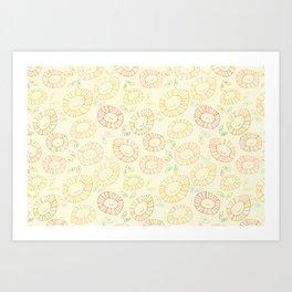 smiley flowers Art Print