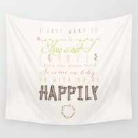 one direction Wall Tapestries featuring One Direction: Happily by MaFleur
