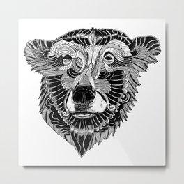 BEAR-HEAD Metal Print