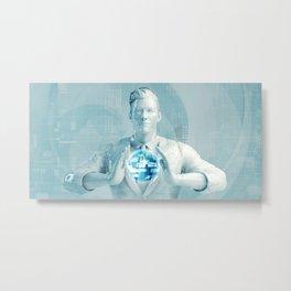 Business Man Using Digital Solutions Technology Concept Art Metal Print