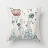 inspirational Throw Pillows featuring Voyages Over New York by David Fleck