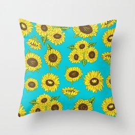 Sunflower Grunge Pattern Throw Pillow