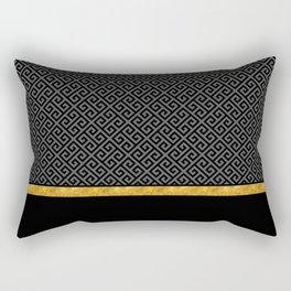 Chic Black Gray Greek Key Gold Border Rectangular Pillow