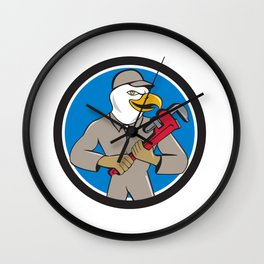 Bald Eagle Plumber Monkey Wrench Circle Cartoon Wall Clock