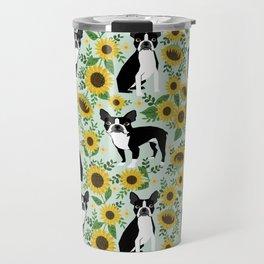 Boston Terrier sunflower floral dog breed pet portrait pet friendly pattern dogs gifts Travel Mug