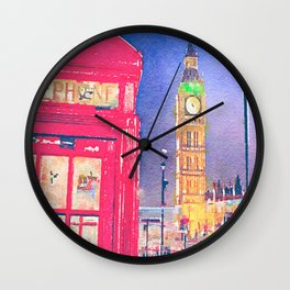 Big Ben and Red Telephone Box in London Watercolor  Wall Clock
