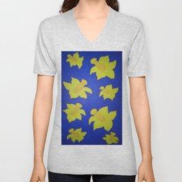 Pop Art Daffodils Blue Unisex V-Neck