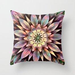 Rainbow Flower in Dimension Mandala Throw Pillow