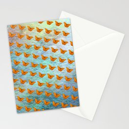 Orange butterflies flying in formation Stationery Cards