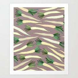 Daikon Radish Carrot Roots Art Print