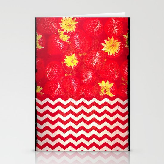 Strawberry Chevron - for iphone Stationery Cards