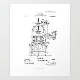 Wine Press Vintage Patent Hand Drawing Art Print