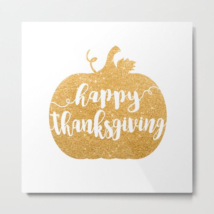 Happy Thanksgiving | Orange Glitter Pumpkin Metal Print