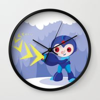 megaman Wall Clocks featuring Megaman by Maria Jose Da Luz