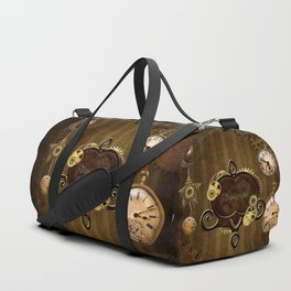 Awesome steampunk design with clocks and gears Duffle Bag