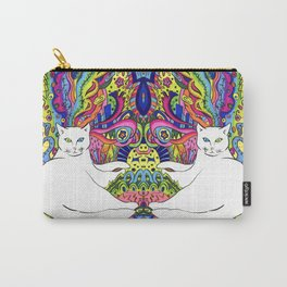 Psychedelic White Cat Carry-All Pouch