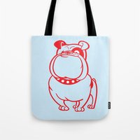 bulldog Tote Bags featuring Bulldog by drawgood