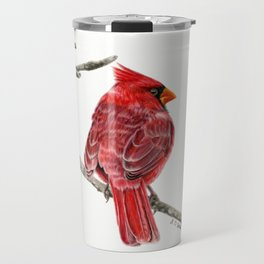 Winter Cardinal On White Travel Mug