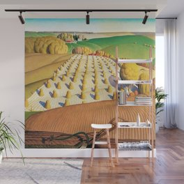 Classical Masterpiece 'Fall Plowing' by Grant Wood Wall Mural