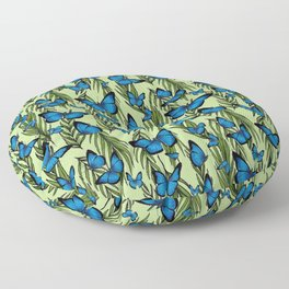 Blue Butterfly Monarchy With Vines Floor Pillow