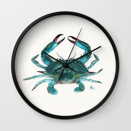 """Blue Crab"" by Amber Marine ~ Watercolor Painting, Illustration, (Copyright 2013) Wall Clock"