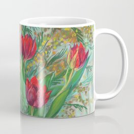 Mimosa and Tulips, Spring Flowers Coffee Mug