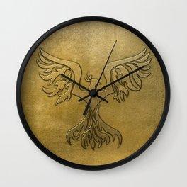 Phoenix Bird Gold Embossed Wall Clock