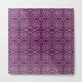 Helices, abstract arabesque pattern, pink & purple Metal Print