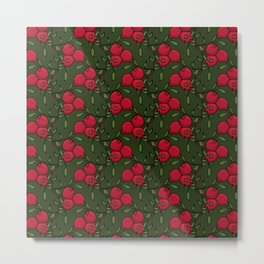 Pomegranate - Red and Green Doodle Pattern Metal Print