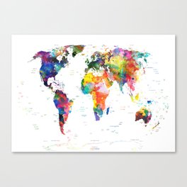 world map political watercolor 2 Canvas Print