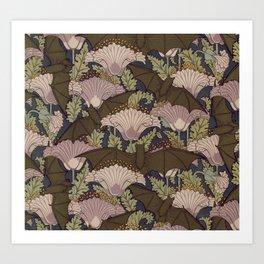 Vintage Art Deco Bat and Flowers Art Print