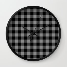 Gray and Black Lumberjack Buffalo Plaid Fabric Wall Clock