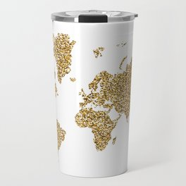 world map white gold Travel Mug