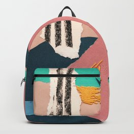 abstract collage with embroidery Backpack
