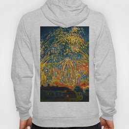 Colorful Summer Fireworks in Nice, France landscape by Nicolai Tarkoff Hoody