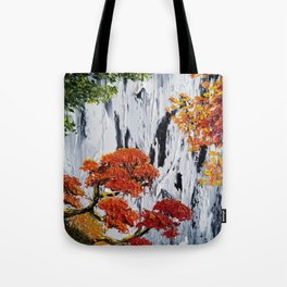 waterfall painting, fall foliage art, autumn trees, orange leaves, waterfall bag, fall tote, rustic Tote Bag