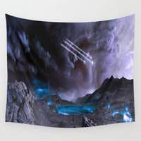 planet Wall Tapestries featuring Extraterrestrial Landscape : Galaxy Planet by 2sweet4words Designs