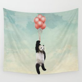 Giant Panda Bear Floating with Red Balloons Wall Tapestry